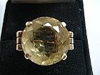 HUGE Faceted Citrine Ring in 14K Gold Art Deco