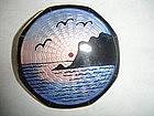Sterling  Silver Enamel Scenic Pin Norway Aksel Holmsen