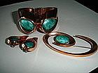 Matisse / Renoir Copper Enamel Clamper Bracelet Set