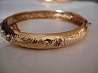 Vintage 18K Gold Bangle Bracelet Turquoise Rubies