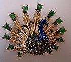 Marcel BOUCHER Enamel Rhinestone Peacock Brooch