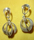 NE From Denmark Sterling Silver Modernist Drop Earrings