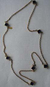 GUCCI Blue Lucite Sautoir Necklace~ 1970s