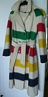Vintage Hudson's Bay Wool Blanket Hooded Coat Sz 10
