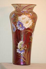 Loetz Large HP Iridescent Threaded Vase C:1900
