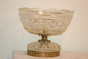 Baccarat French Cut Glass & Bronze Compote C:1910