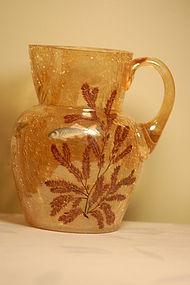 Moser Bohemian glass crackle sea-theme ewer C:1910