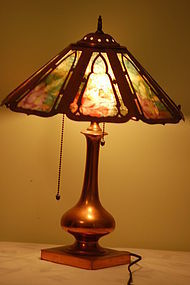 Pairpoint Lamp Reverse-painted Rare C:1910