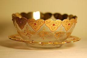 Moser glass jeweled finger-bowl and underplate C:1885