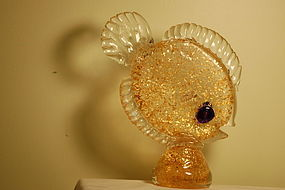 Tyra Lundgren Murano glass fish gold-fleck C:1950