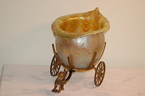 Loetz glass Phanome Gre 6893 Vase in stand C:1899