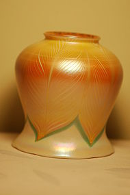 Quezal glass shade Favrile Pulled-feather C:1910
