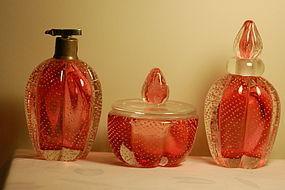Archimede Seguso Murano glass 3-pc Perfume Bullicante
