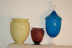 3 Steuben Ivory, Amethyst & Alabaster vases Jar C:1920