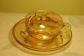 Moser Monot & Stumpf HP cup & saucer C:1900