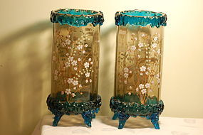 Moser Bohemian glass pair hand painted vases C:1885