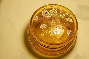 Bohemian glass hand painted box C: 1900