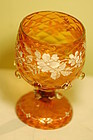 Bohemian glass hand painted diamond quilted wine glass C:1900