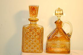 Bohemian Cut & etched glass decanters (2) C:1920