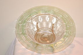 Steuben large threaded large center bowl signed C:1920