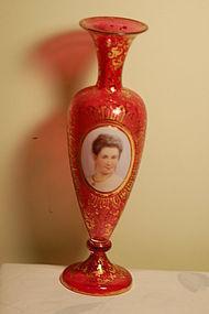 Moser hand painted Bohemian glass portrait vase C:1880