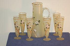 Carl Hosch Bohemian glass hand painted glass set 7 Piece C:1900