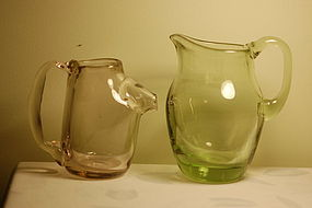 Two Dominik Labino signed studio glass ewers C:1965
