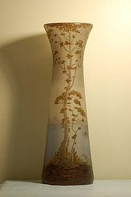 Muller Freres Fres monumental French cameo glass vase C:1910