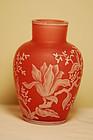 Thomas Webb Signed English cameo glass vase C:1900