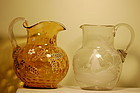 Victorian glass painted ewers Mary Gregory & thumbprint