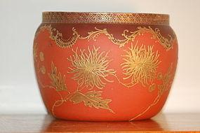 Mt Washington glass Crown Milano large bowl C:1890