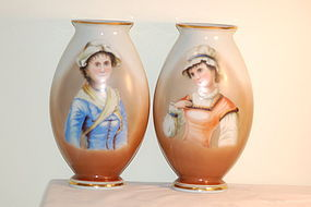 Josef Ahne pair tall painted glass portrait vases C:1890