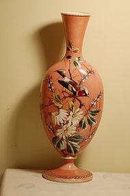 Thomas Webb hand painted large English glass vase C:1890