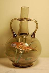 Moser Bohemian glass hand painted fish vase C:1910