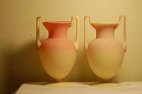 Mt Washington glass Burmese Egyptian vases pair C:1890