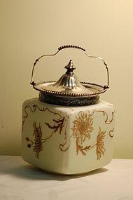Mt Washington Pairpoint Crown Milano glass biscuit jar C:1900
