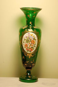 Bohemian Moser glass hand painted vase C:1885