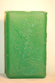 Steuben jade glass acid cutback acb vase C:1920