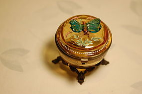 Moser Harrach Bohemian glass box with applied butterfly rare C:1885