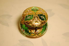 Moser Bohemian glass ornate painted box C:1885