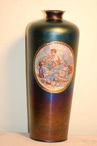 Thomas Webb English 'Bronze' glass painted vase artist-signed C:1900