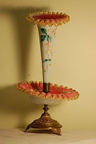 Victorian hand painted glass epergne Mt Washington C:1880