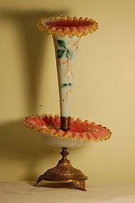 Victorian hand painted glass epergne Mt Washington C:1880
