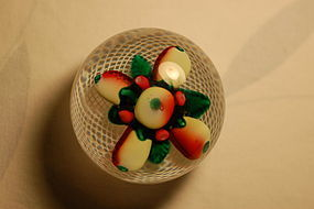 New England glass paperweight 'Fruit on Latticinio' C:1849