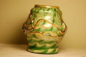 Tiffany Studios glass Corona 'Pulled Feather' vase very rare C:1905