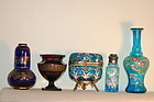 Moser glass box & 4 other Bohemian glass pieces C:1885