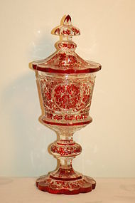 Karl Pfohl exceptional Bohemian glass ruby pokal C:1870