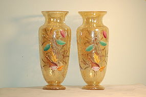 Pair Moser Bohemian glass ocean-themed crackle glass vases C:1890