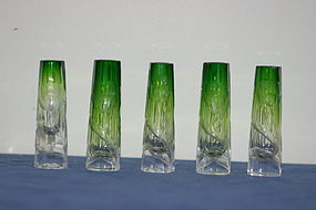 Moser Bohemian glass 5-piece bud vase set C:1900
