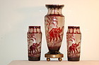 Moser Bohemian cameo glass 3-piece Elephant 'Animor' vase set C:1920